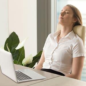 virtual mindfulness class woman meditating